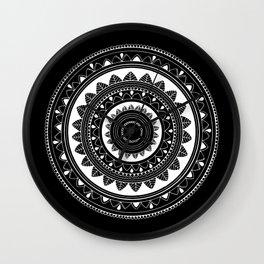 Ukatasana white mandala on black Wall Clock