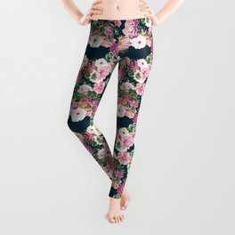 Roselyn Floral - Navy Leggings