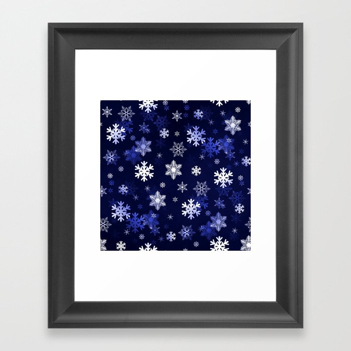 Dark Blue Snowflakes Framed Art Print
