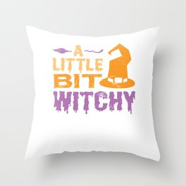 A Little Bit Witchy Halloween Design for Men Women Kids Throw Pillow