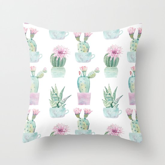 Simply Echeveria Cactus in Pastel Cactus Green and Pink Throw Pillow