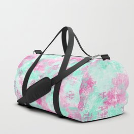 Modern Girly Bright Pink Teal Paint Splotches Duffle Bag
