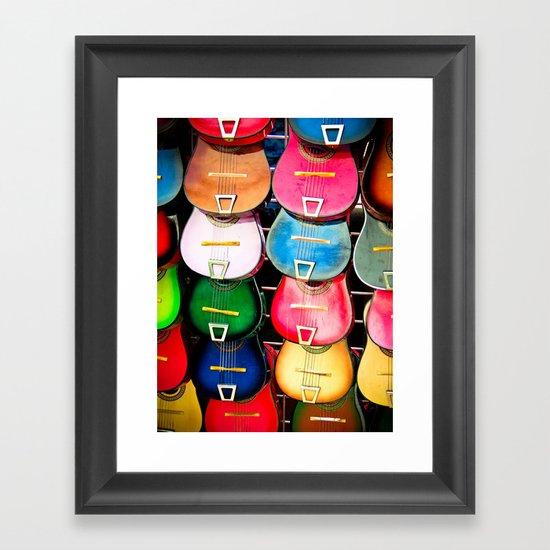 Colorful Wooden Guitars Framed Art Print
