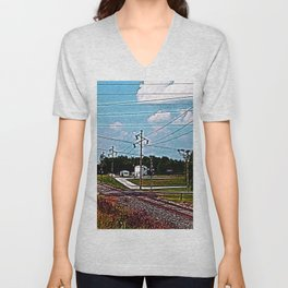 Jacksonville IL Rail Crossing 2 Unisex V-Neck
