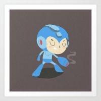 mega man Art Prints featuring Mega Man by Rod Perich