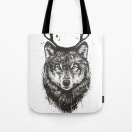 Deer wolf (b&w) Tote Bag