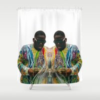 biggie smalls Shower Curtains featuring Biggie Smalls by IFEELFREEDXM