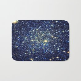 galaxY Stars : Midnight Blue & Gold Bath Mat