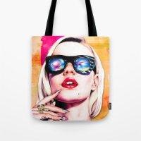 iggy azalea Tote Bags featuring Iggy Azalea- Orange/Pink by Tiffany Taimoorazy