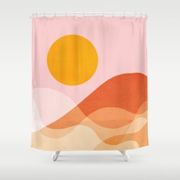 Abstraction_Mountains_SUN_Beach_Ocean_Minimalism_001 Shower Curtain