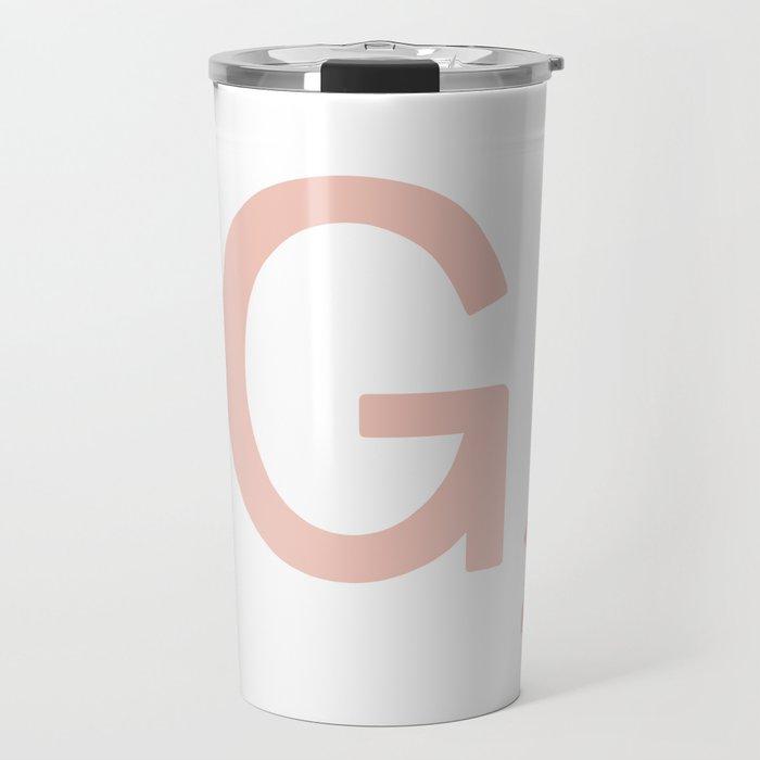 Pink Scrabble Letter G - Scrabble Tile Art Travel Mug
