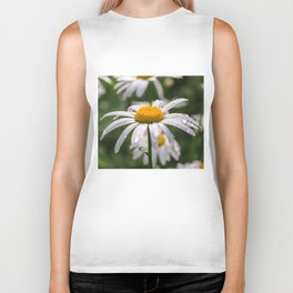White daisy with rainy droplets Biker Tank