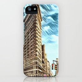 Flatiron Building NYC Landscape Painting by Jeanpaul Ferro iPhone Case