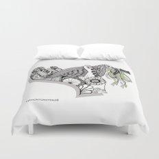 Zentangle Illustration - Peace Dove  Duvet Cover