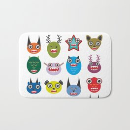 Cute cartoon Monsters Set. Big collection on white background Bath Mat
