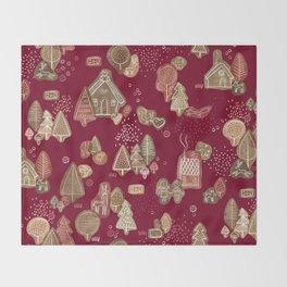 Hansel and Gretel Fairy Tale Gingerbread Pattern Throw Blanket