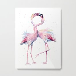 Two Flamingos Watercolor Flamingo Love Metal Print