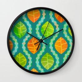 Autumn Leaves & Wavy Rain on Teal Wall Clock