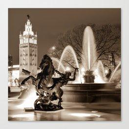 J.C. Nichols Fountain Statues - Kansas City Plaza in Sepia Canvas Print