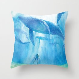 Flying in the sea Throw Pillow