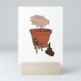 Nap at the plant (terracota color version) Mini Art Print