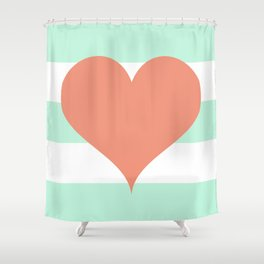 Large Heart on Stripes in Coral and Mint Shower Curtain