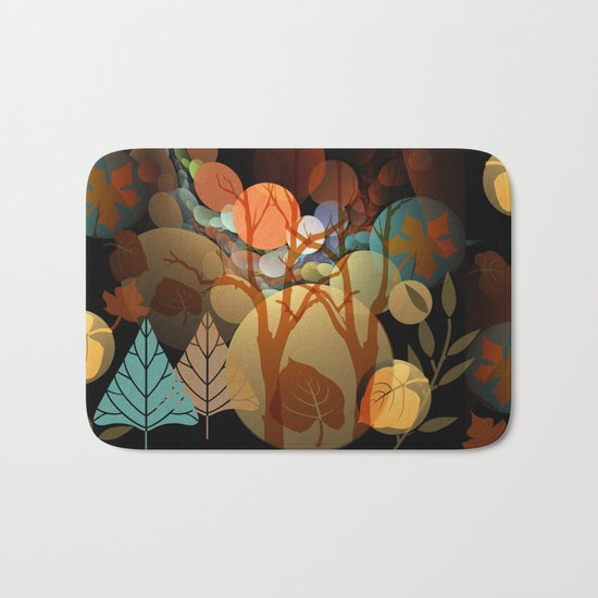 Trees and leaves in sun spots Bath Mat