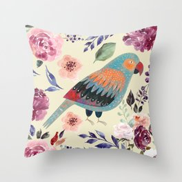 Parrot Art Floral Watercolor Painting Throw Pillow