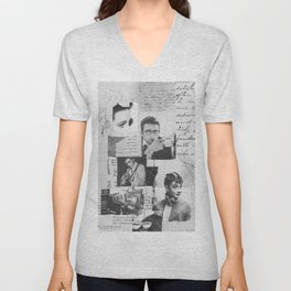 Creative Portrait Collage of 1950's Icons Unisex V-Neck