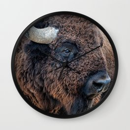OLena Art Bison the Mighty Beast - Bison das mächtige Tier North American Wildlife Wall Clock