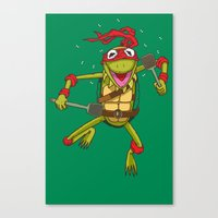 muppet Canvas Prints featuring TEENAGE MUPPET NINJA PUPPET by T.a. Bryant