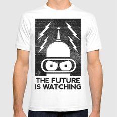 The Future Is Watching MEDIUM Mens Fitted Tee White