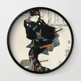Ichi by Utagawa Kuniyoshi, a traditional Japanese ukiyo-e style illustration. Wall Clock