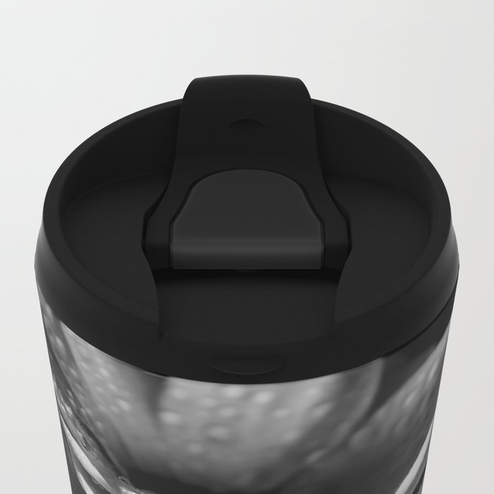 Flower and drops. Black and white. Metal Travel Mug