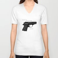 bond V-neck T-shirts featuring Bond PPK by AngoldArts