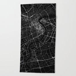 Shanghai Black Map Beach Towel