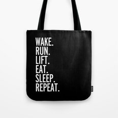 Run, Sleep, Repeat Gym Quote Tote Bag