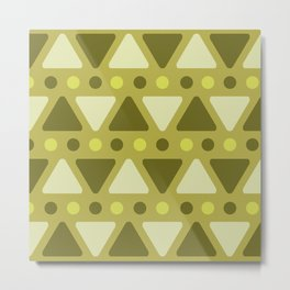 Mid Century Modern Triangles Dots Chartreuse Metal Print