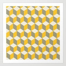 Diamond Repeating Pattern In Yellow Gray and White Art Print
