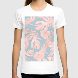 Island Life Millennial Pink on Pale Teal Blue T-shirt