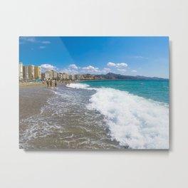 Malaga beach, sea in foreground Metal Print