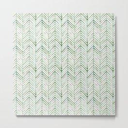 Pine chevron - greens Metal Print