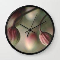 montana Wall Clocks featuring Montana Buds by Sandra Ireland Images