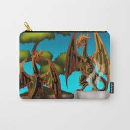 Hot Coffee with Bonsai and Fire Dragons Carry-All Pouch