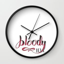 Bloody Hell Hand Lettered Spooky Printable Wall Clock