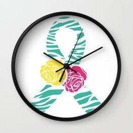 Endometriosis Ribbon 3 Wall Clock