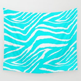 Zebra Animal Print Blue and White Wall Tapestry