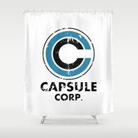 dragonball Shower Curtains featuring Capsule Corp Vintage bright by Karlangas