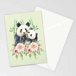 Cute Panda Bears Cuddling Watercolor Stationery Cards