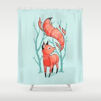 winter Shower Curtains featuring Winter Fox by Freeminds